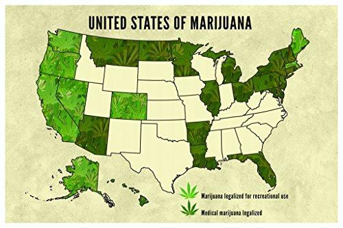 United States Of Marijuana Legalization Updated Map Poster - Marijuana legalization in the us map