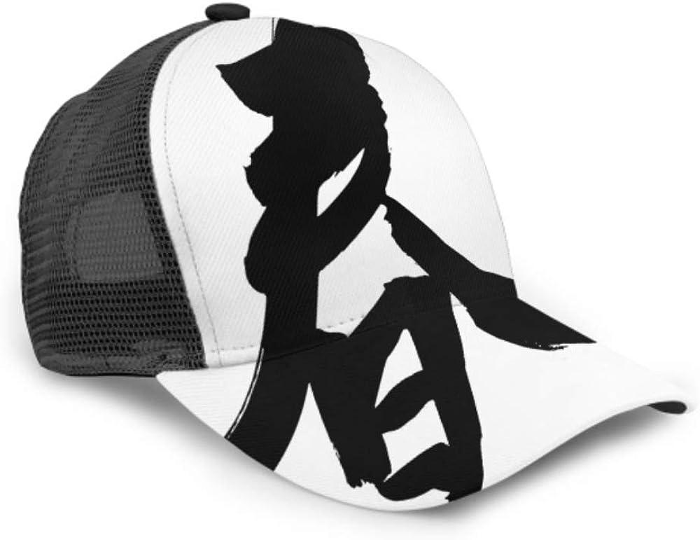 Baseball Cap Men Women Chinese Calligraphy Translation Spring Leftside Seal Adjustable Trucker Mesh Summer Vented Baseball Sun Cap Hat Caps for Men