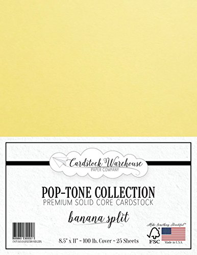BANANA SPLIT YELLOW Cardstock Paper - 8.5 x 11 inch 100 lb. Heavyweight Cover -25 Sheets from Cardstock - Pastels Cover Stock