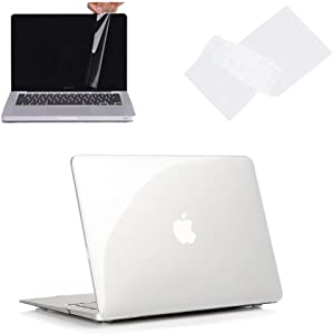 """Ruban - Air 11-inch 3 in 1 Soft-Touch Hard Case Cover and Keyboard Cover with Screen Protector for Macbook Air 11"""" Models: A1370 & A1465 - CRYSTAL CLEAR"""