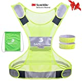 Reflective Vest for Running Cycling Dog Walking Motorcycle, High Visibility Bike Reflector Vest, 3M Scotchlite Reflective Running Gear Vest, Reflective Safety Vest with Pockets and 2 Reflective Bands