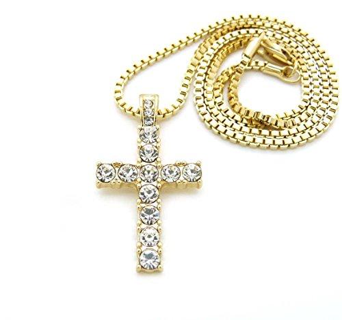 """Fashion 21 Iced Out Micro Cross Pendant 20"""",24"""",27"""" Various Chain Necklace in Gold Tone (Gold - 2mm 24"""" Box Chain)"""