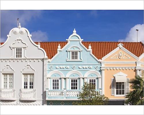 10x8 Print of Colonial Dutch architechure near Main Street, Oranjestad, Aruba, Netherlands (12987119)