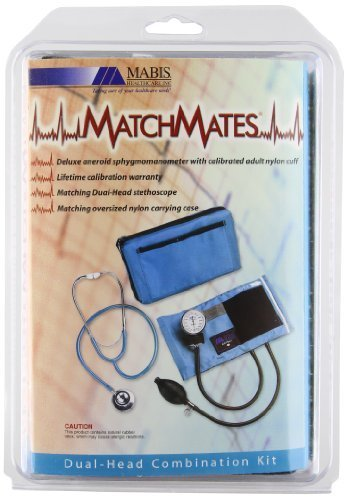 MABIS MatchMates Aneroid Sphygmomanometer and Dual Head Stethoscope Combination Home Blood Pressure Kit with Calibrated Nylon Cuff, Hunter Green by MABIS DMI Healthcare