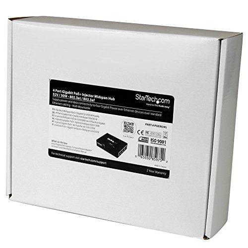StarTech.com 4 Port Gigabit Midspan PoE+ Injector Wall-Mountable Power Over Ethernet (POEINJ4G) by StarTech (Image #5)