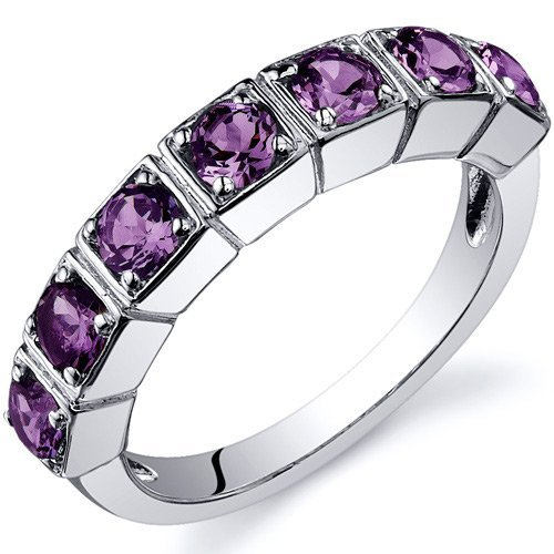 Simulated Alexandrite Band Ring Sterling Silver 1.75 Carats Size Q