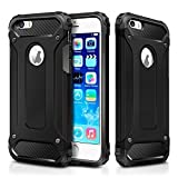 iPhone SE Case,iPhone 5S Case,iPhone 5 Case,Wollony Rugged Hybrid Dual Layer Armor Protective Back Case Shockproof Cover for iPhone SE/5S/5- Slim Fit - Heavy Duty - Impact Resistant Bumper (Black)