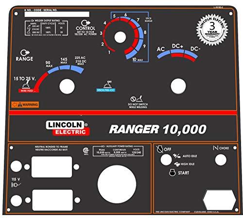 - Lincoln Arc Welder Control Plate Ranger 8 Black Face Plate, L-10183-3