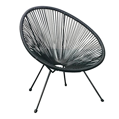 Acapulco Patio Chair All-Weather Weave Lounge Chair Patio Sun Oval Chair Available for Indoor Outdoor,4 Piece Chairs with 1 Top Glass Table,Black