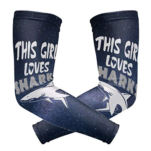 Sun Sleeve Cover Arms This Girl Loves Sharks with Vintage Designs and Ice Material for Cycling Jogging Marathon -