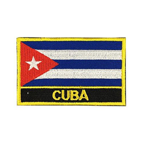 Cuba Flag Patch (Cuban Iron-On w/Words, 2