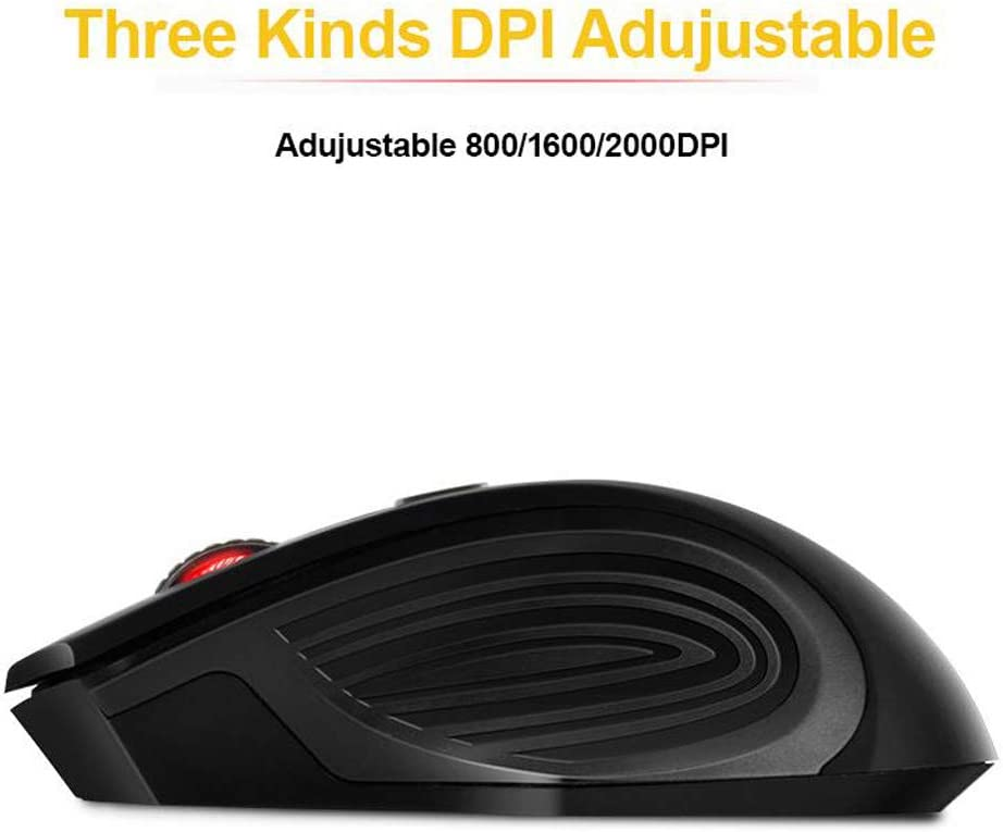 Gaming Mouse Ergonomic Mouse USB Wireless Mouse Laptop Mouse 2000DPI Adjustable 3.0 Receiver Optical Computer Mouse Fast Scrolling Color : Black