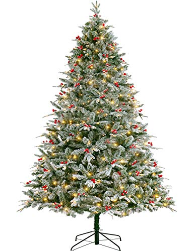 LordofXMAS Flocked Christmas Tree Pre-lit 9 ft with LED Lights Patent Easy Plug