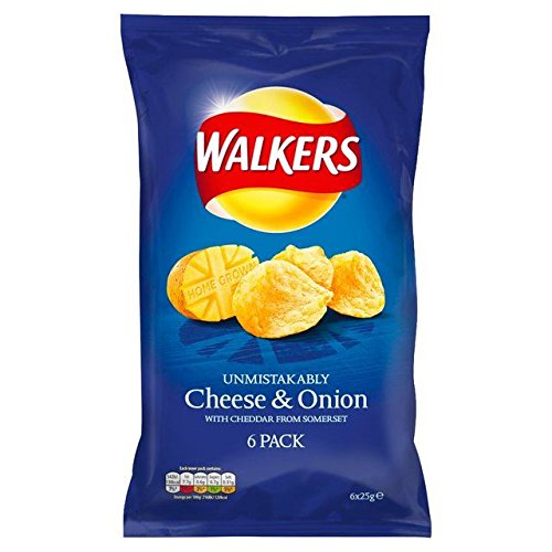 Walkers Cheese & Onion Crisps 25g x 6 per pack