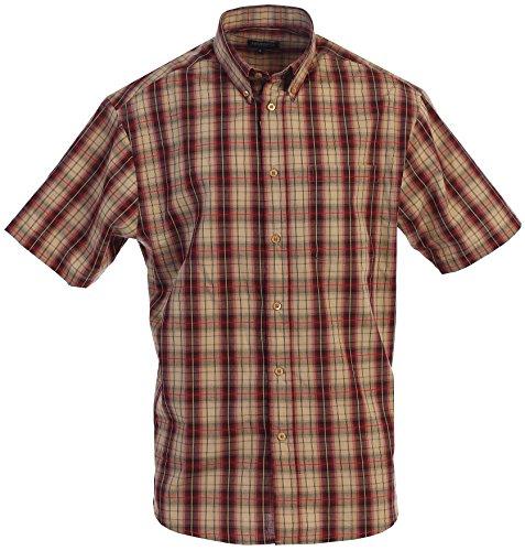Gioberti Men's Plaid Short Sleeve Shirt, Khaki/Burgundy, X Large