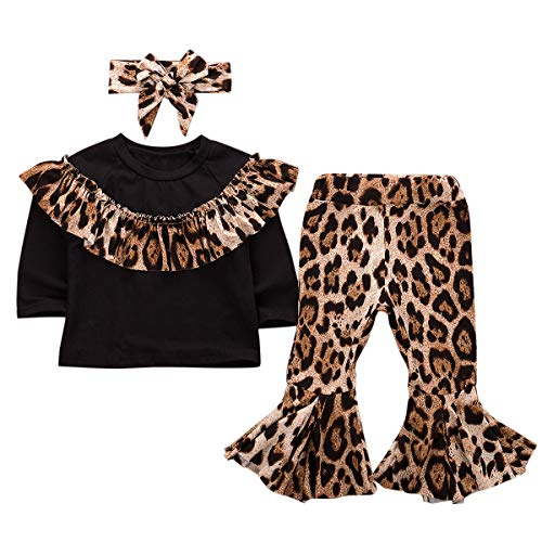 Lamuusaa Toddler Kid Baby Girls Ruffled Long Sleeve Tops Blouse Leopard Flared Pants Leggings Fall Winter Outfits 1-6Y (Black+1, 6-12M) (Kd Christmas 6 Outfit)
