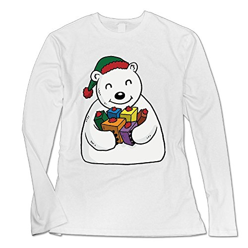 Christmas Polar Bear Custom Women's Blank Long Sleeve Custom Cotton Sweatshirt Top White XXL (Bear Christmas Jumper Care)
