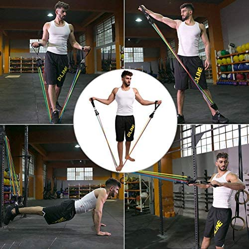 Lxuemlu 【2020 Newest】 150LB Resistance Bands Set for Home Workouts, Physical Therapy - Exercise Bands with Handles, Door Anchor, Ankle Straps and Workout Guide 7