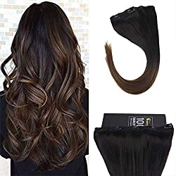 Sunny 22inch One Piece Clip in Hair Extensions Remy Hair Black to Brown Ombre Human Hair Clip in Extensions with 5 clips 70G