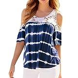 Oksale Women's Plus Size Tee Shirt Casual Cold Shoulder Lace Splice Short Sleeve Blouse Shirt Top (Blue, XXL)