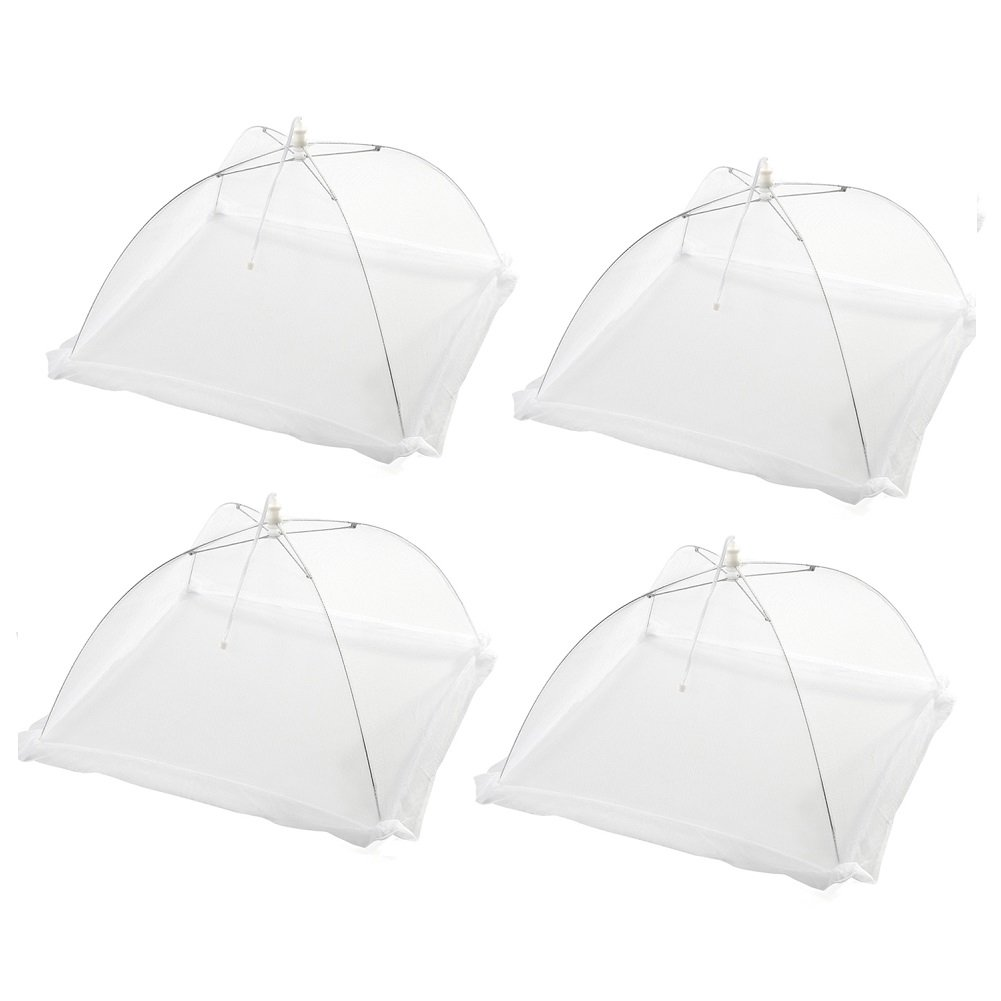 EVINIS Large White Pop Up Mesh Screen Food Cover - Keep Out Flies, Bugs, Mosquitos - Reusable and Collapsible (Pack of 4)