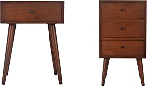 Decor Therapy Mid Century One Drawer Side Table Wood Light Walnut & Mid Century Three Drawer Side Table Wood Light Walnut