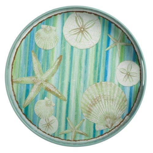 Round Melanine Blue Seashells Print Tray with Handles