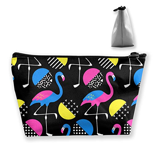 Neon Flamingos in 80s Style Pattern Waterproof Fabric Cosmetic Bags Portable Travel Toiletry Pouch Makeup Organizer Clutch Bag with Zipper (Trapezoidal) ()
