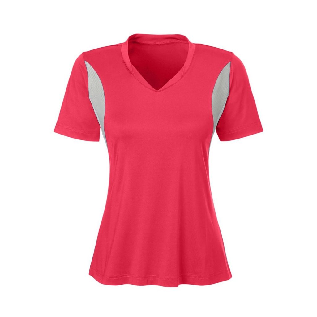 Ash City Apparel Team 365 Ladies Short-Sleeve Athletic V-Neck All Sport Jersey (X-Small, Sport Red)