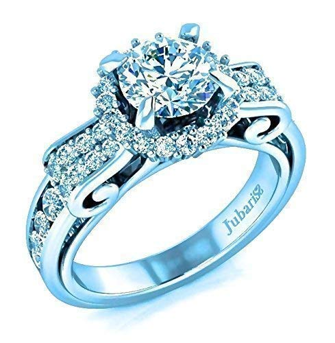 Halo Diamond Engagement Ring 2 Ctw Round Brilliant Classic Custom Ribbon Micro-Pave & Channel Shank White Gold 18K Fine Jewelry