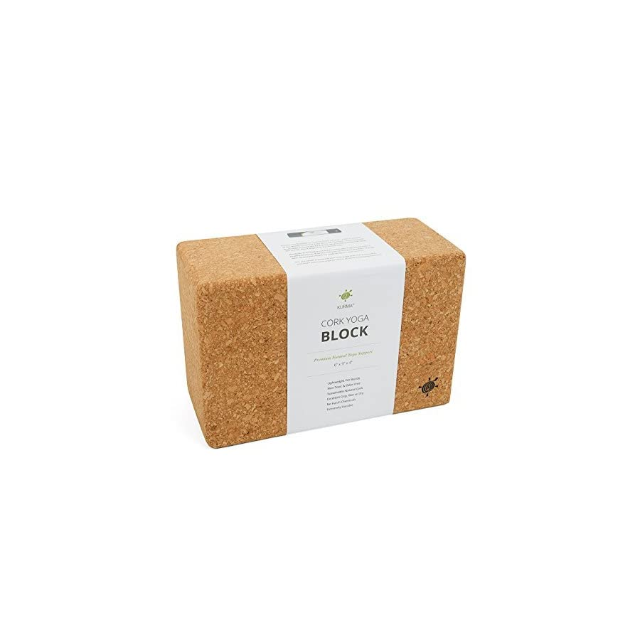 Set of 2 Yoga Blocks, Natural, Sturdy Yoga Prop, Cork, Large by Kurma