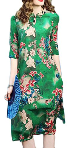 (Lutratocro Women Satin Casual 3/4 Sleeve Floral Printed Swing Ethnic Style Cheongsam Dresses Green L)