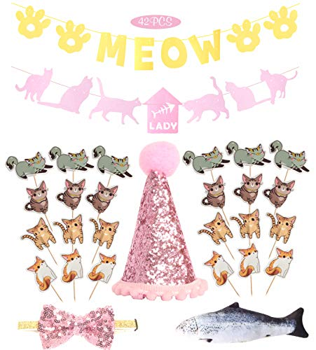 Cat Birthday Party Supplies | Kitty Kitten Birthday Party Supplies Decorations Kit | Cute 24 PCS Cat Cake Cupcake Toppers Picks| Cat Birthday Adjustable Hat and Bow| Kitty Cat Themed Parties (Pink)]()