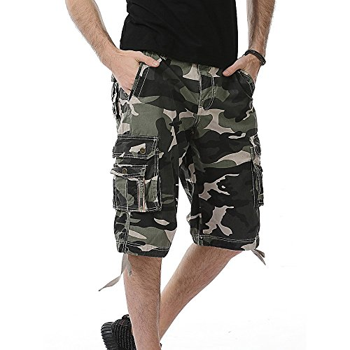 Benficial Men's Casual Camouflage Pocket Beach Loose Work Short Trouser Cargo Shorts Pant ()