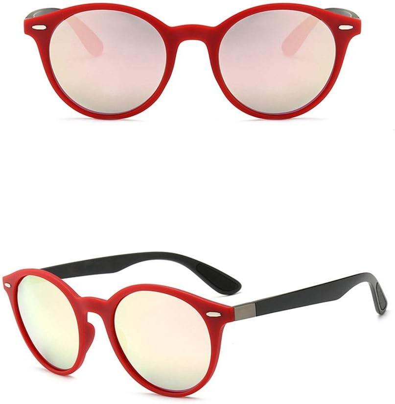 ZhangC Occhiali da Sole, Forte e Robusto Polarized 100% Protezione UV antiriflesso Anti-affaticamento dell\'occhio Occhiali da Sole di Guida retrò da Uomo Lenti Nere Red Frame/Pink
