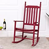 Wooden Patio Chairs Giantex Wood Outdoor Rocking Chair, Wooden Rocking Chairs for Porch, Patio, Living Room, Porch Rocker for adults (Red)