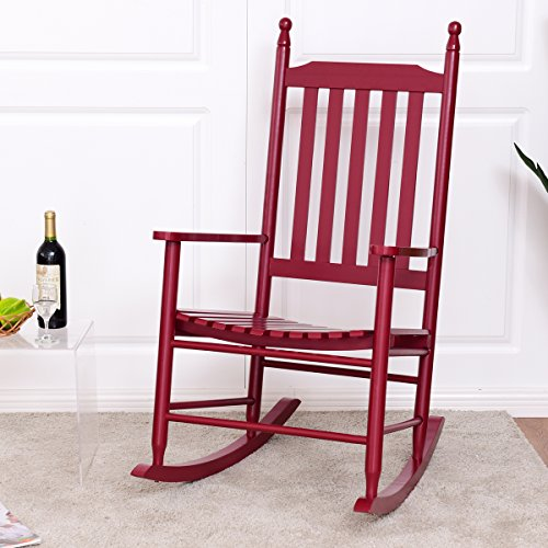 Giantex Wood Outdoor Rocking Chair, Wooden Rocking Chairs for Porch, Patio, Living Room, Porch Rocker for adults (Red)