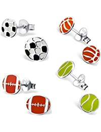 925 Sterling Silver Hypoallergenic Set of 4 Pairs Sports Balls Soccer, Basketball, Football, & Tennis Stud Earrings for Girls (Nickel Free)