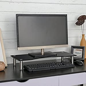 """SevenFanS Monitor Stands Curved Glass Computer Risers for PC Monitors, Laptops, Computers & TVs for home and office using, Height Adjustable-22"""" x 9.5 """"-Black"""