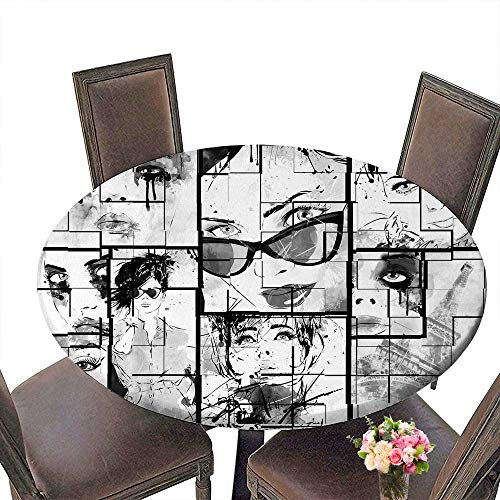 PINAFORE Picnic Circle Table Fashion House Women Faces with Different Eye Makeup Eiffel Tower Romance ParisImage Black White for Family Dinners or Gatherings 55