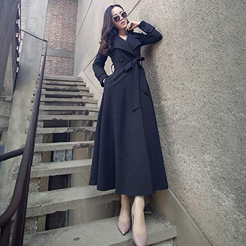 Mélange Longue xxl L'amérique Coupe Pois Printemps vent Taille Manteau Et Cachemire Femmes Section Qiongqiong Ceinture black automne Hiver Laine L'europe YCxwpWfqS