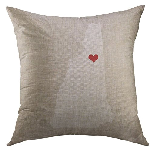 Mugod Decorative Throw Pillow Cover for Couch Sofa,Linen New Hampshire State 16 X Wedding Home Decor Pillow case 18x18 Inch