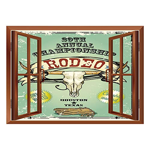 SCOCICI Removable Wall Sticker/Wall Mural/Western,Retro Style Rodeo Championship Poster Bull Skull Large Horns with Banner Grungy Decorative,Multicolor/Wall Sticker Mural