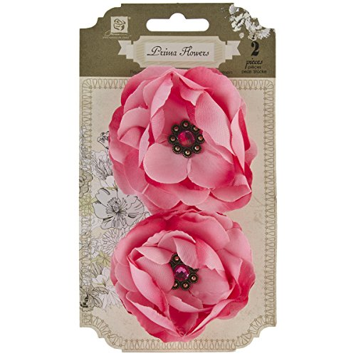 Prima Marketing Aria Fabric Flowers W/Rhinestones 3