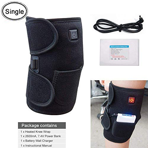 Heated Knee Brace Wrap Support/Therapeutic Electric Heating Pad W/Rechargable 7.4V 2600Mah Battery for Joint Pain, Arthritis Meniscus Pain Relief (3 Temperature Setting) by Arris (1PCS) by ARRIS
