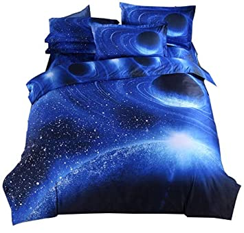 Cliab Galaxy Bedding Blue for Kids Boys Girls Full Size Outer Space Duvet Cover Set 7 Pieces(Fitted Sheet Included)