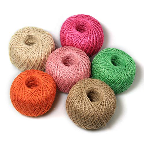 Wholesale Digiroot Natural Jute Twine Perfect for Gift Packaging, Gardening Applications, Arts and Crafts Project and Home Decorations - Pack of 6 , 328ft/roll (Beige,Hot Pink,Light Pink,Green,Orange,Brown) for cheap