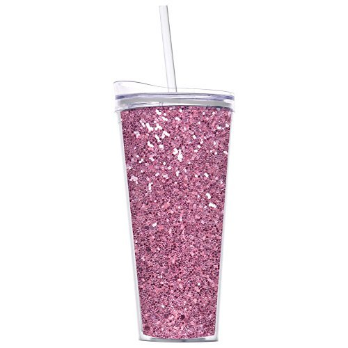 Glitter 22oz Double Wall Tumblers with Straw By Slant Collections (Pink Glitter)