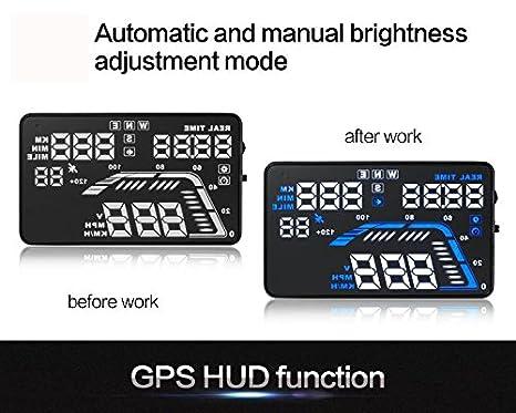 BLESYS 5,5 Universal GPS HUD /écran Haute d/éfinition Speedometers Vitesse Avertissement v/éhicule mont/é Head Up Display Compatible avec Toutes Les Voitures Plug and Play