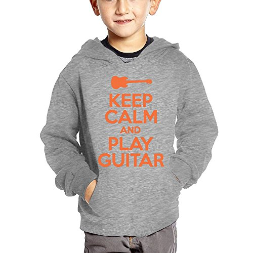 Joapron Keep Calm and Play Guitar Kids Long Sleeve Pocket Pullover Hooded Sweatshirt Ash Size 2 Toddler